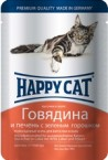 Пауч Happy Cat Говядина и печень в желе для кошек